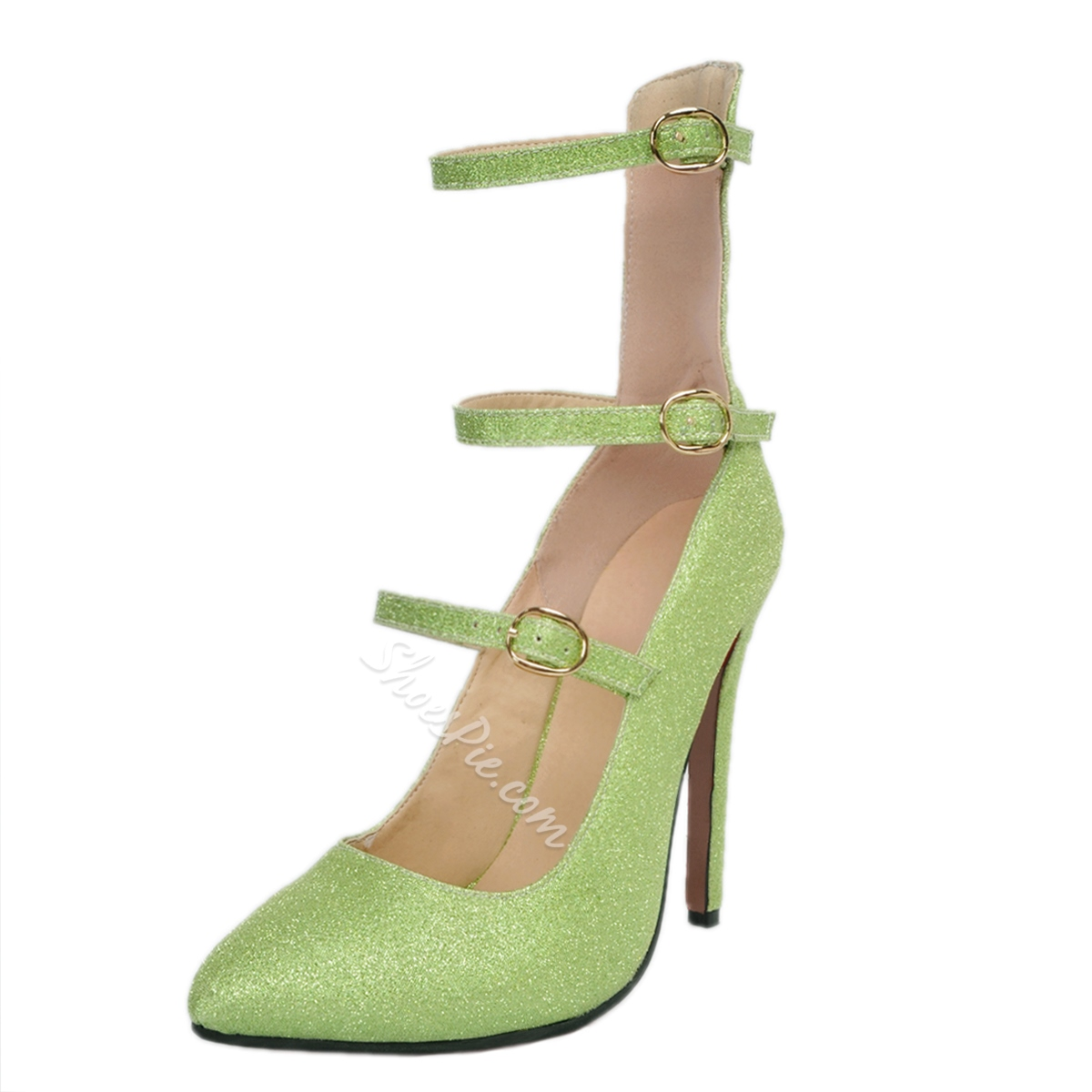 Shoespie Chic Green Stiletto Heels