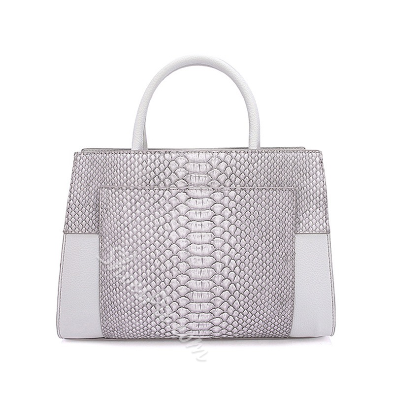 Shoespie Gorgeous Snake Pattern Contrast Color Tote