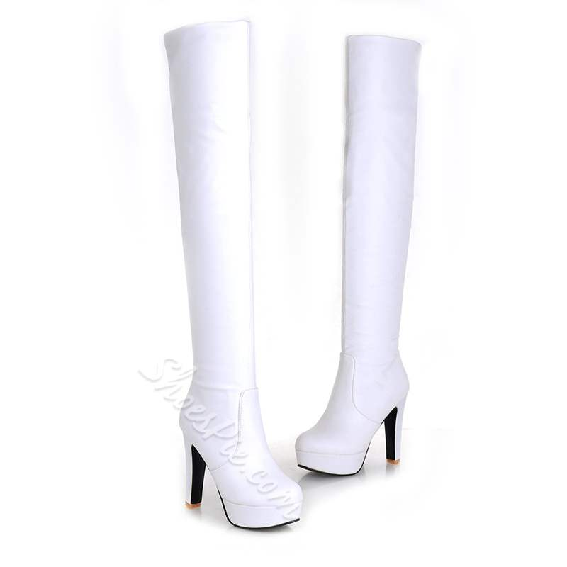 Shoespie Solid Color Platform Chunky Heel Thigh High Boots