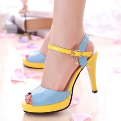 Shoespie Elegant Color Block Platform Sandals