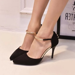 Shoespie Simply Metal Ankle Wrap Stiletto Heels