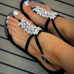 Shoespie Black Exquisite Crystals Flat Sandals