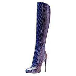 Shoespie Snake Pattern Stiletto Heel Knee High Boots