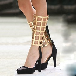 Shoespie Black Suede & Mesh Metal Caged Stiletto Heels
