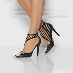Shoespie Black Snake Pattern Cut Out Stiletto Heels