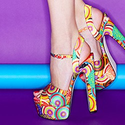 Shoespie Creative Pop Art Print Chunky Heel Dress Sandals