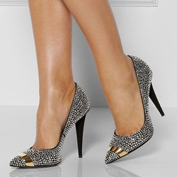 Shoespie Chic Black Rhinestone Spike Heel Court Shoes
