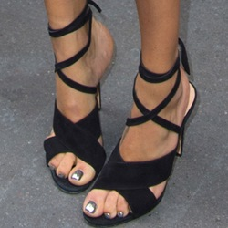 Shoespie Black Ankle Tie Sandals