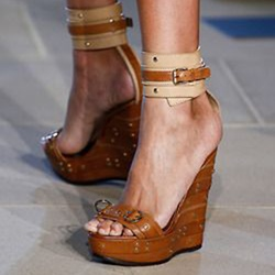Shoespie Ankle Wrap Wedge Sandals