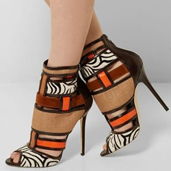 Shoespie Bohemia Contrast Color Patchwork Peep Toe Ankle Boots