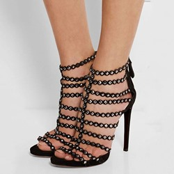 Shoespie Savvy Street Black Rivets Dress Sandals