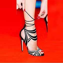 Shoespie Sexy Black & White Two Tone Contrast Color Lace Up Dress Sandals