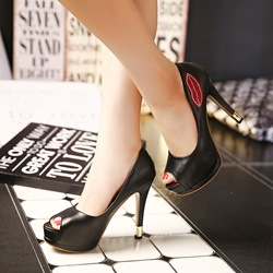 Shoespie Red Lips Print Peep Toe Heels