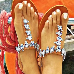 Shoespie Rhinestones Decorated Flat Sandals
