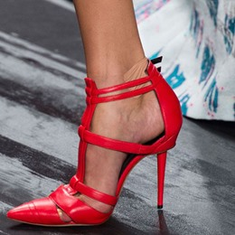 Shoespie Chic Red Pointed Toe Strapped Stiletto Heel Court Shoes