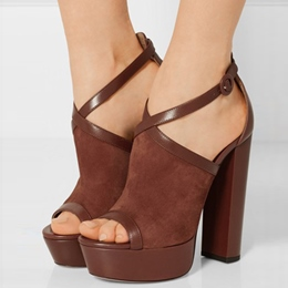 Shoespie Brown Chunky Heel Platform Sandals