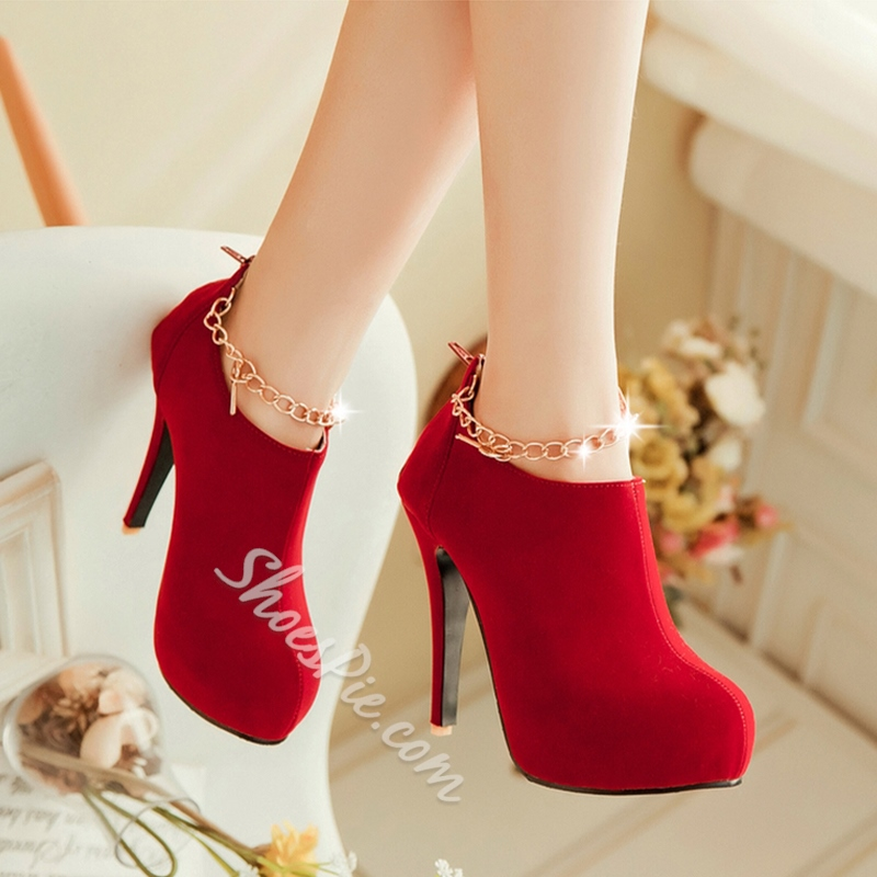 Shoespie Thread Round Toe High Heels Ankle Boots