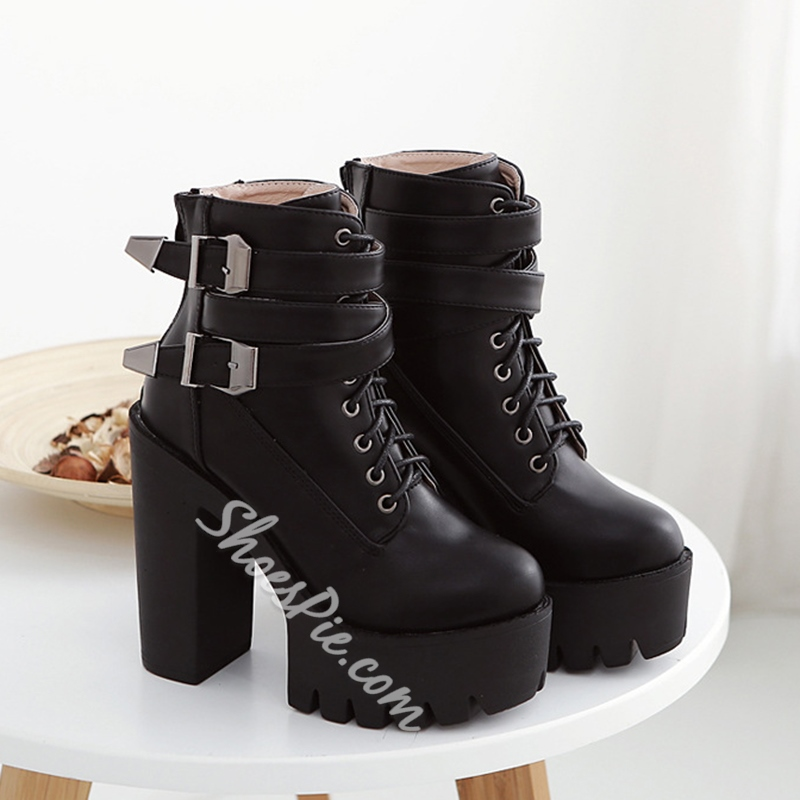 Shoespie Black Buckles Lace Up Ankle Boots