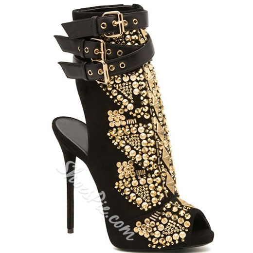 Shoespie Punk Style Hard Rivets Peep Toe Ankle Boots