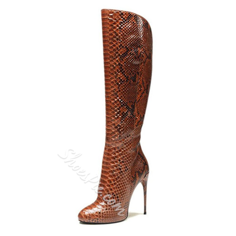 Shoespie High Quality Snake Pattern Stiletto Heel Knee High Boots