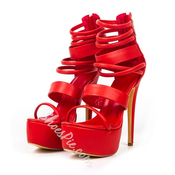 Shoespie Red Platform Sandals