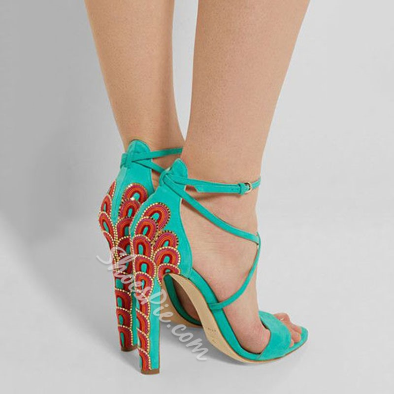 Shoespie Fashion Peacock Embroidered Cross Strappy Dress Sandals