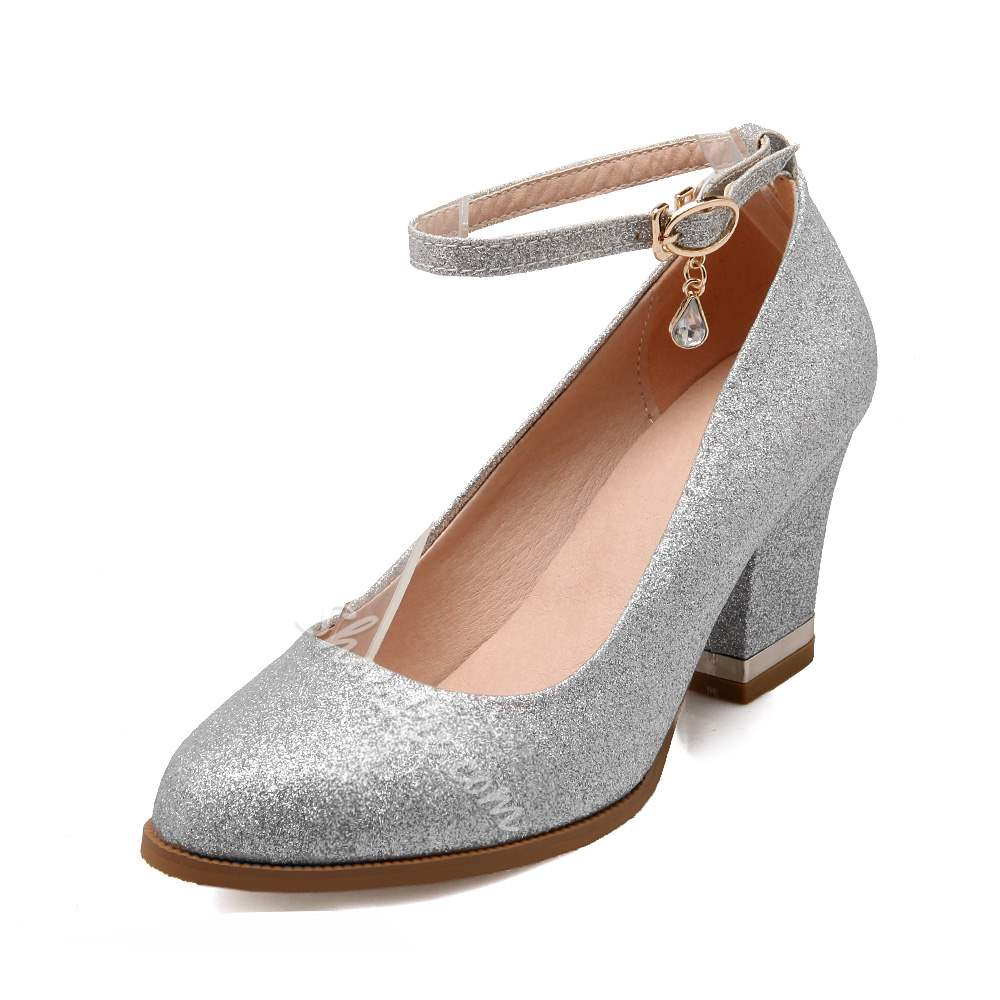 Shoespie Sequins Buckle Ankle Strap Wedding Shoes