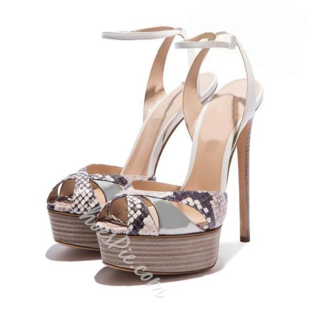 Shoespie Snakeskin Platform Sandals