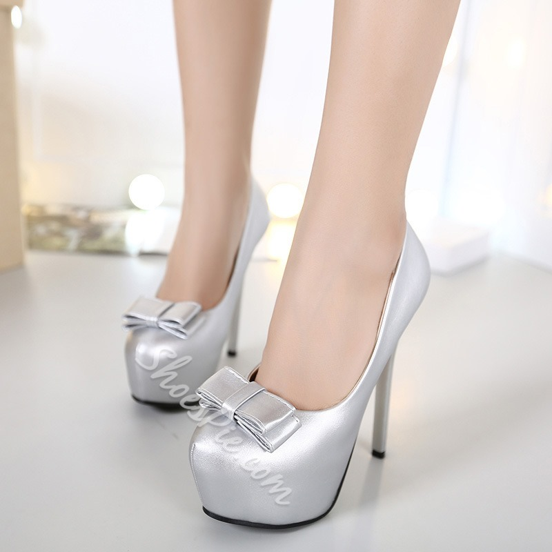 Shoespie Chic Bowtie Patent Leather Platform Heels