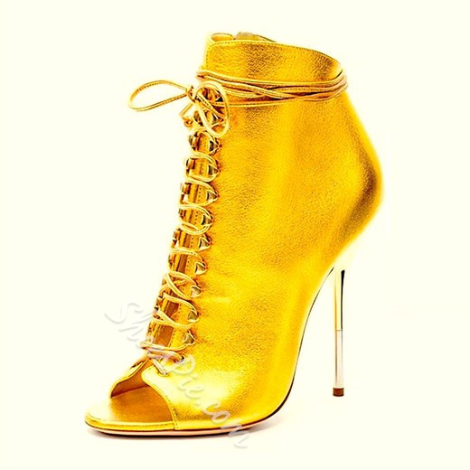 Shoespie Sexy Golden Color Lace Up Peep Toe Ankle Boots