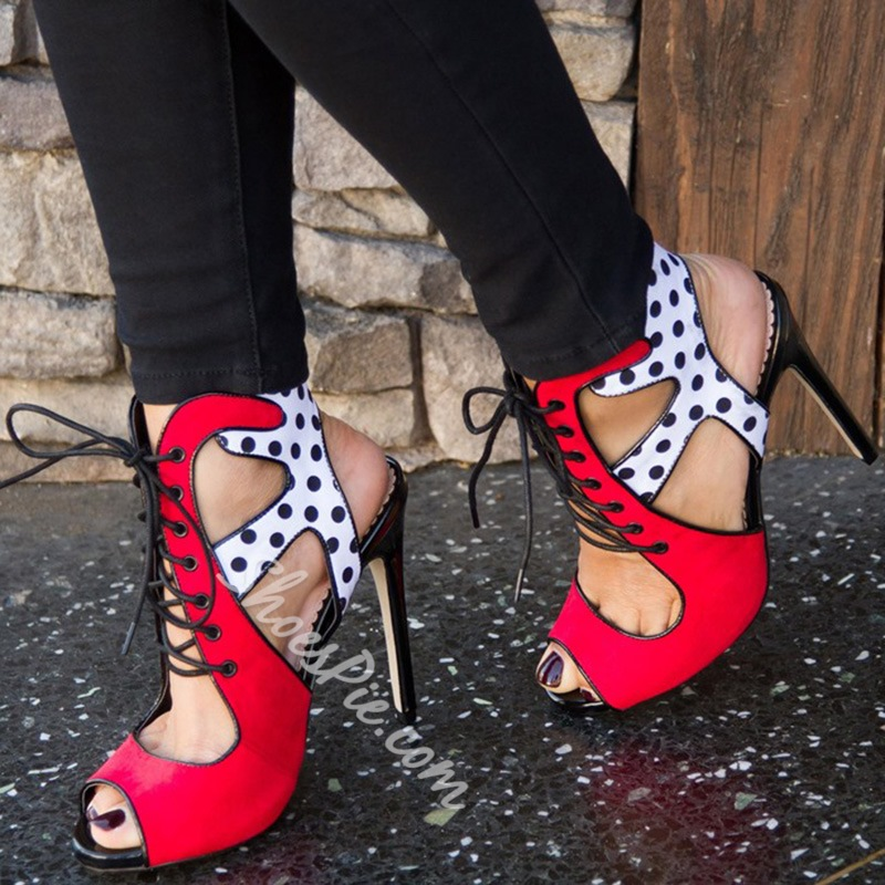 Shoespie Stunning Polka Dots Lace Up Sandals