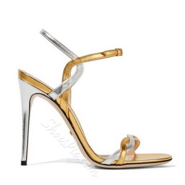 Shoespie Gold and Silver Dress Sandals
