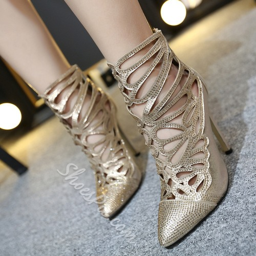 Shoespie Golden Color Caged Stiletto Heels