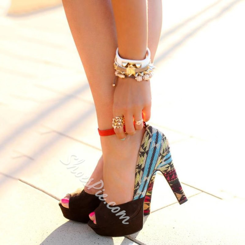 Shoespie Exotic Print Color Block Peep Toe Platform Heels Shoespie
