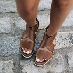 Shoespie Normcore Wide Strap Flat Sandals