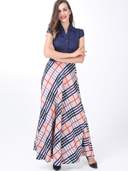 Short Sleeve Lapel Ankle-Length Plaid Women's Dress