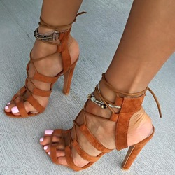 Shoespie Brown Lace Up Sandals