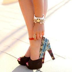 Shoespie Exotic Print Color Block Peep Toe Platform Heels