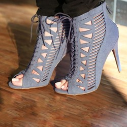 Shoespie Open Toe Caged Lace Up Ankle Boots
