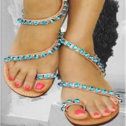 Shoespie Rhinestones Clip Toe Flat Sandals