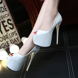 Shoespie Night Club Solid Color Peep Toe Platform Heels
