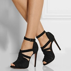 Shoespie Elegant Black Crepe Buckle Stiletto Heels