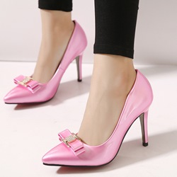 Shoespie Elegant Patent Leather Bowtie Stiletto Heels