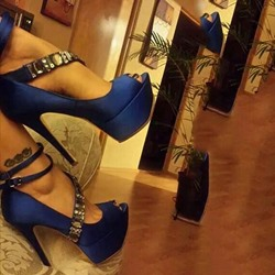 Shoespie Blue Cross Strap Rhinestone Peep Toe High Platform Heels