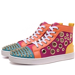 Shoespie Color Block Rivets and Holes Mens Sneakers shoespie