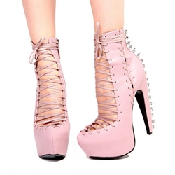Shoespie Solid Color Lace Up Rivets Platform Heel Ankle Boots