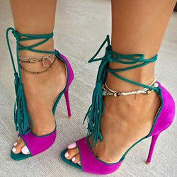 ShoespieOpen Toe Fringe Lace Up Sandals