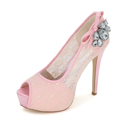 Shoespie Lace Rhinestone Appliqued Bridal Shoes