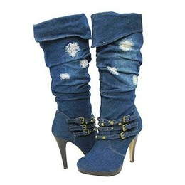 Special Denim Buckle High Heels Boots
