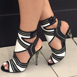 Shoespie Black & White Two Tone Cut Out Dress Sandals